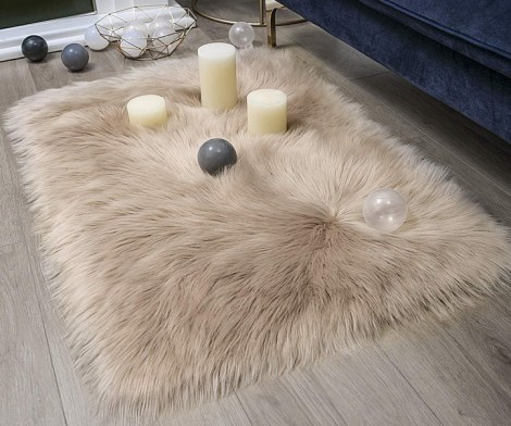 Faux Fur Beige Rectangle Area Rug
