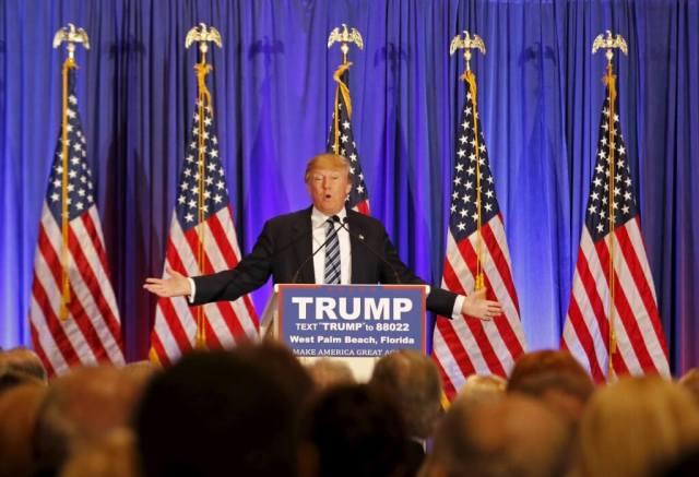 U.S. Republican presidential candidate Donald Trump speaks at a press event at his Trump International Golf Club in West Palm Beach, Florida, March 5, 2016. REUTERS/Joe Skipper