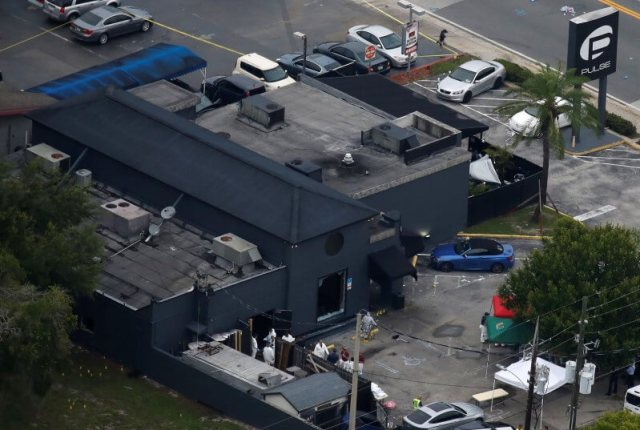 An aerial view shows the Pulse gay nightclub after a mass shooting in Orlando, Florida, June 12, 2016. REUTERS/Carlo Allegri