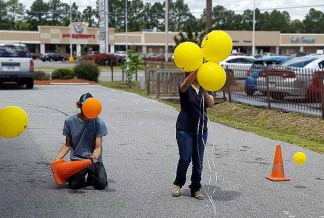 Decorating the drive-through.