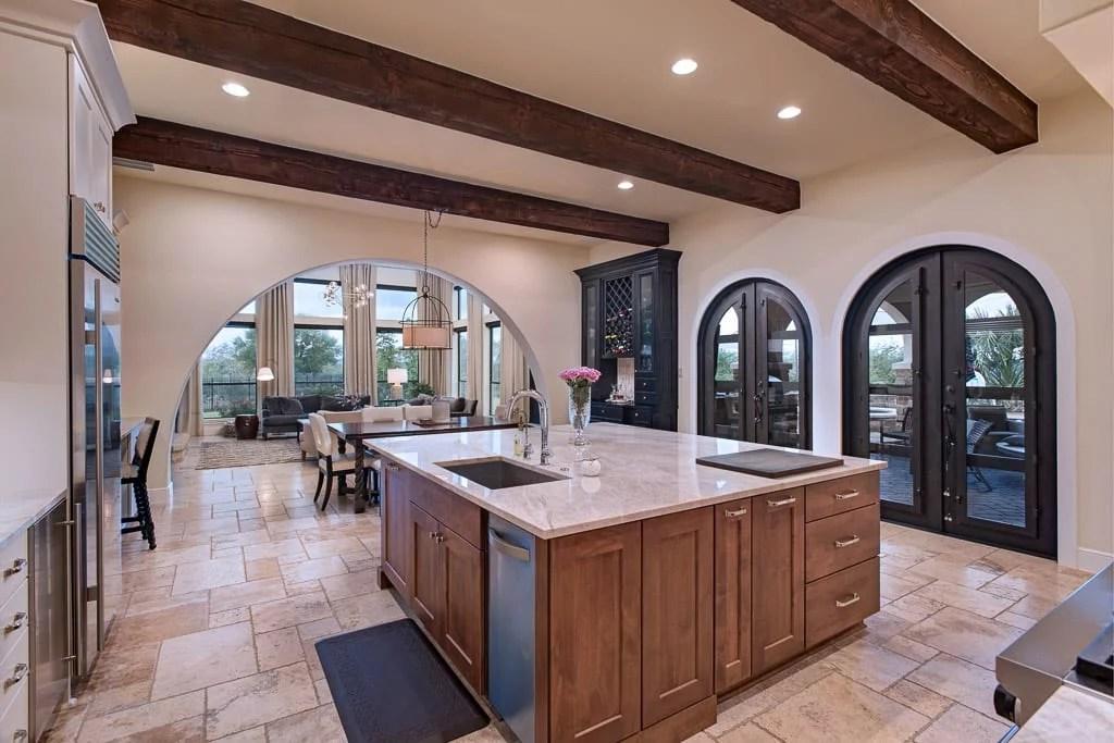 West Austin Transitional White Kitchen with Alder Island