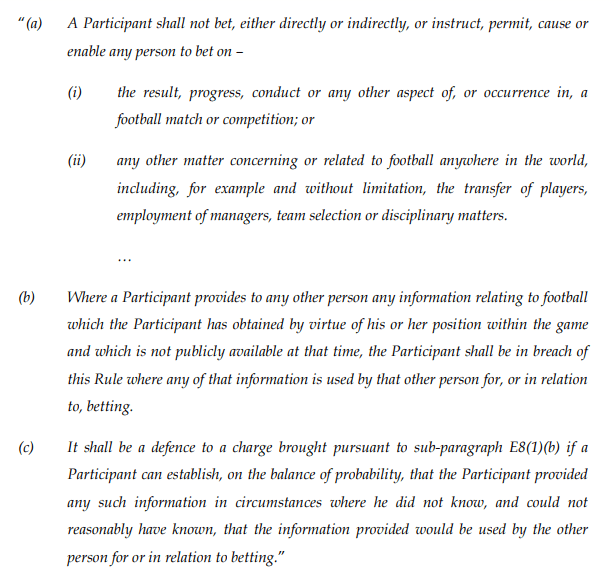 fa rules on betting