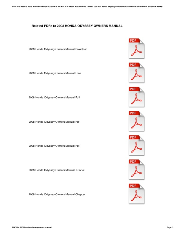 2008 Honda Odyssey Owners Manual Download