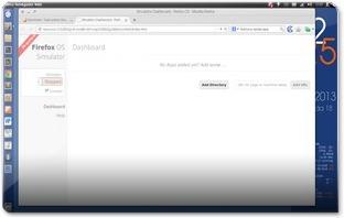 Dashboard do FirefoxOS simulatorM