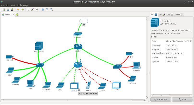 JNetMap Open Source Graphical Network Monitoring And Mapping Tool