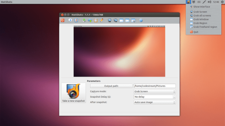 Hotshots Screenshot tool in Ubuntu