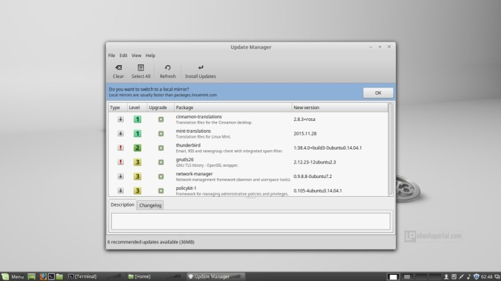 Linux Mint 17.3 Cinnamon - Update Manager
