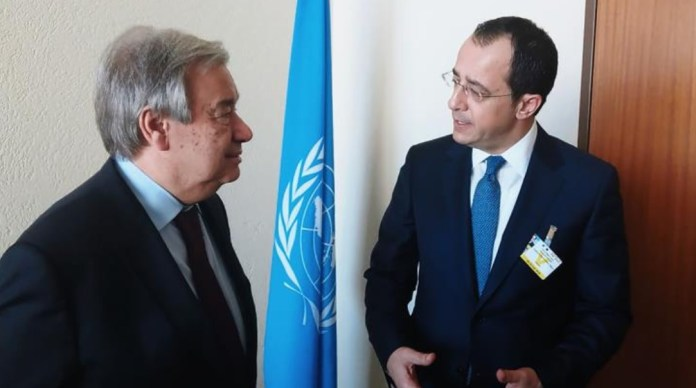 """Cyprus' Foreign Minister Nikos Christodoulides met on Monday with UN Secretary-General, Antonio Guterres, in Geneva, and discussed Turkey's unlawful activities in Cyprus' exclusive economic zone (EEZ), as well as developments in Varosha, the fenced-off part of Famagusta. Speaking after the meeting, Christodoulides also noted that Guterres is ready to move ahead with the process, aiming at a Cyprus settlement, right after April`s """"elections"""" in the Turkish-occupied part of the island.   """"I had the chance to discuss and exchange views with the UN Secretary-General in relation to Turkish unlawful actions in the EEZ of the Republic of Cyprus, which are not in line with international law, as well as about the statements and actions of Turkey in relation to the fenced-off area of Famagusta which are in contrast to the relevant UN resolutions, among others"""" the Foreign Minister said according to a Ministry announcement.   He also said that he noted the satisfaction of the Secretary-General about the results of the meeting in Berlin, in November 2019, as well as his clear commitment and readiness to go ahead with the whole process rights after the electoral process in the occupied areas"""" of Cyprus.   The Foreign Minister went on to say that it emerged from their discussion that the process should take place in a propitious environment to reinforce efforts, so that it is possible to have a positive result """"which is nothing less than a Cyprus settlement on the basis of the relevant UN resolutions.""""   Christodoulides also noted that during his meeting with Guterres, they also discussed about the memoranda of understanding signed between Turkey and Libya, while the Secretary-General also referred to migration and the serious challenges it is posing for the Republic of Cyprus.   The Foreign Minister is in Switzerland for the 43rd session of the Human Rights Council, taking place on February 24-26.  Cyprus has been divided since 1974, when Turkey invaded and occupied its northern"""