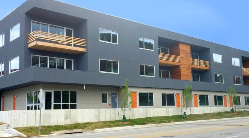 Exterior of contemporary apartment building.