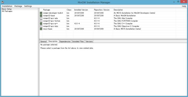 MinGW インストールマネージャー画面 5