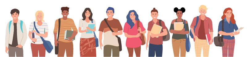 Illustration of several young people of working age