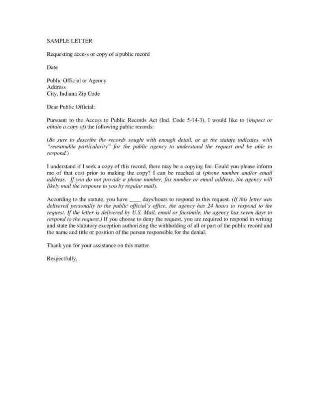 Formal Request Letter Sample