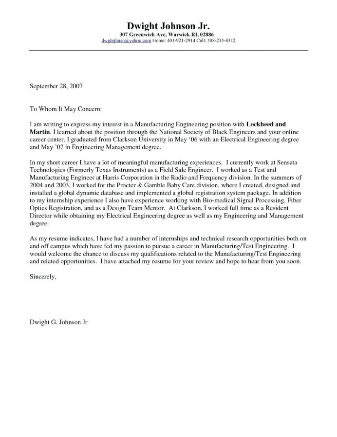 I passed the info along to friend number. Mechanical Engineering Cover Letter Examples