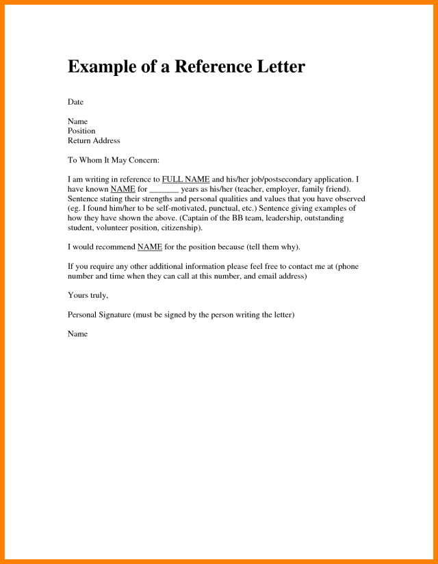 Personal Reference Letter Examples Help Me Write Sample Template