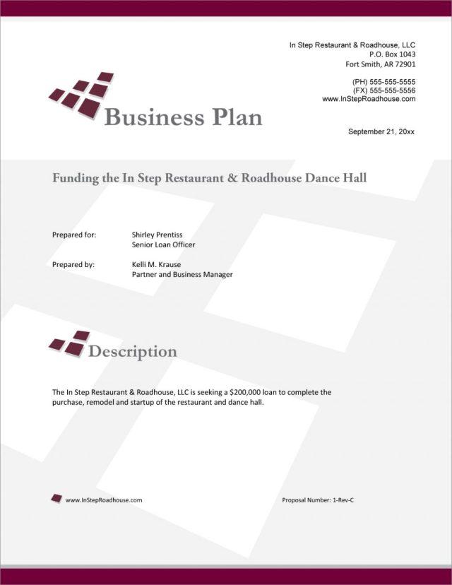 Restaurant Proposal Example