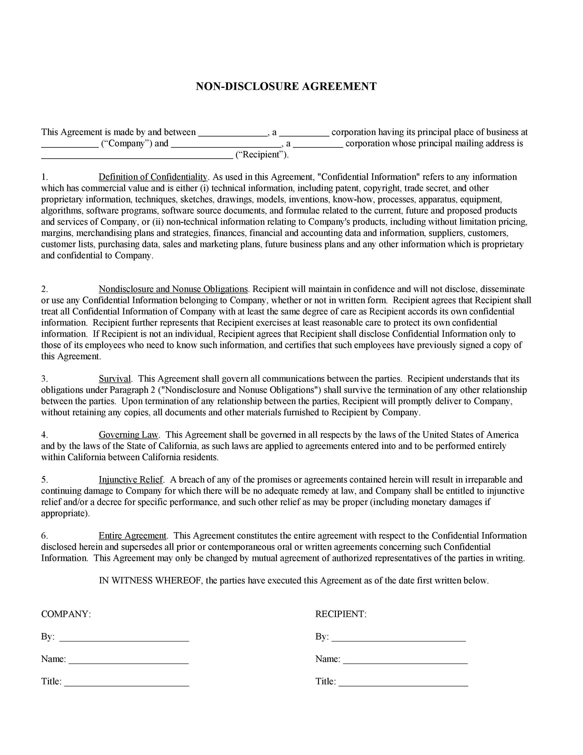 It can be used in a wide range of scenarios to protect information from being exposed, including discussing business mergers, pitching newly developed technology to investors, or the hiring of new employees that will have access to highly secret (and valuable) information. Short Non Disclosure Agreement Template