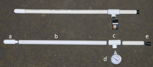 "Components needed to build a tensiometer: a. ceramic cup, b. ½ inch PVC pipe for shafts, c. PVC ""T"", d. vacuum gauge, and e. rubber stopper."