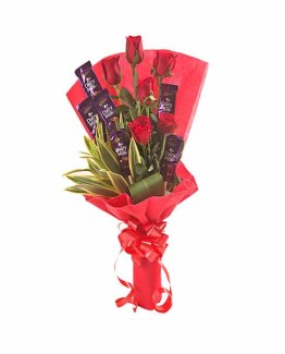 Roses with chocolate Bunch