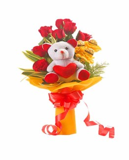 Teddy with Roses & Chocolates Arrangement