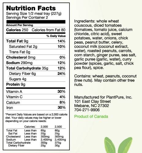 Whole Food Plant-Based Diet - Find Our Entree Nutrition Info ...