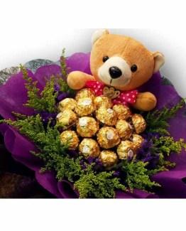 Chocolate Teddy Hand Bunch