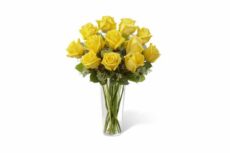 12 Yellow Roses Hand Bunch