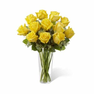 12 Yellow Roses Hand Bunch