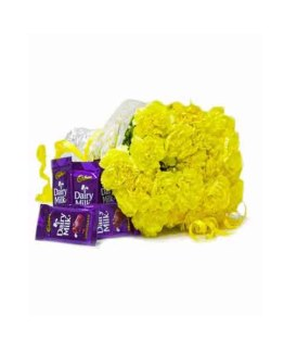 Yellow Carnations Hand Bunch with Dairy Milk