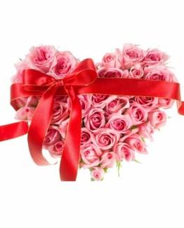 Pink Roses Heart shape arrangement