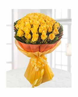 50 Yellow Roses Hand Bunch