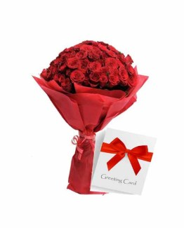 Red Roses Bouquet with greeting Card