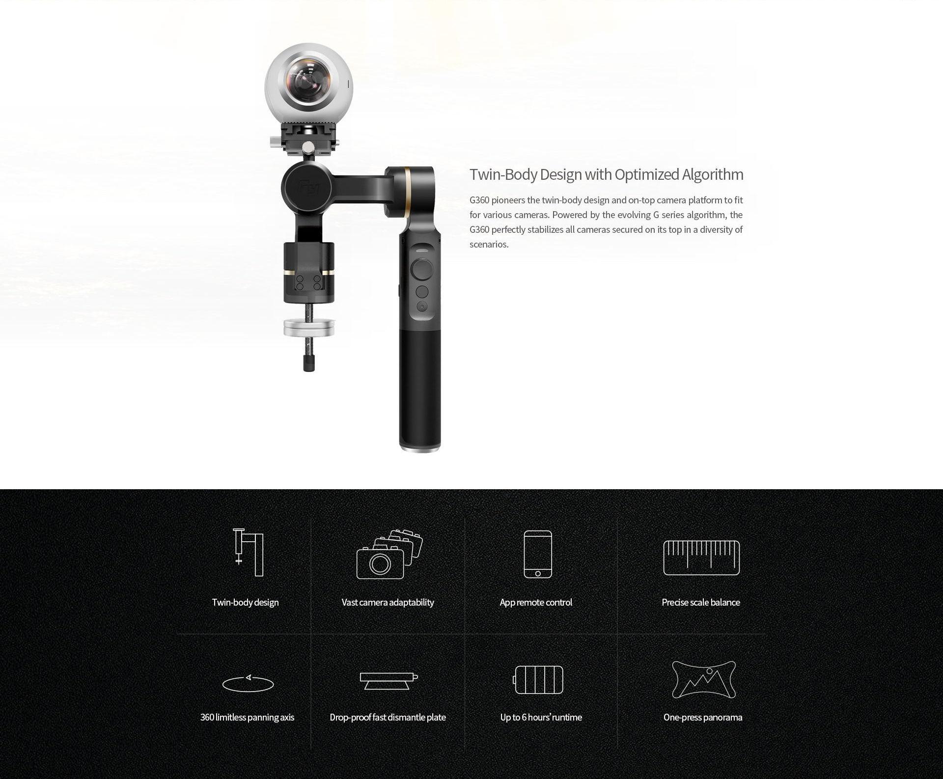 FeiyuTech G360 Panoramic Camera Gimbal For Gear 360, GoPro