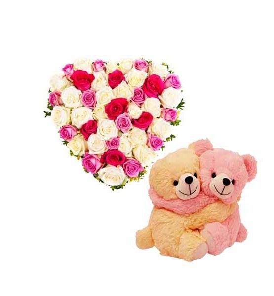 Mix Roses Teddy Heart arrangement