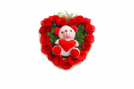 Red Roses with Sweet Teddy bear combination