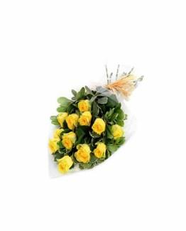 15 Yellow Roses Hand Bunch