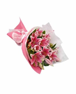 12 Pink Lilies Hand Bunch