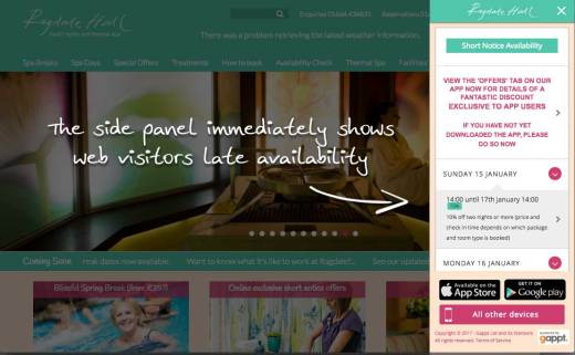 The side panel on the Ragdale Hall website