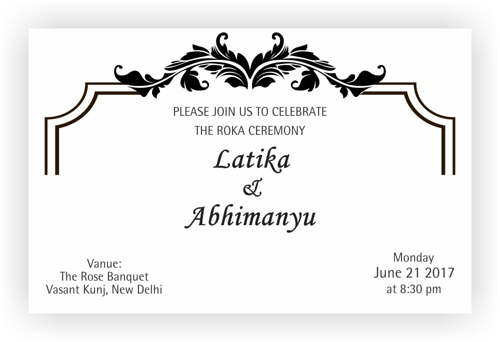 Roka Ceremony Invitation Wordings