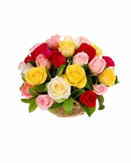 Mix Roses Basket Arrangement