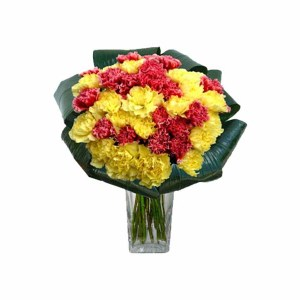 15 Red & Yellow Carnations Hand Bunch