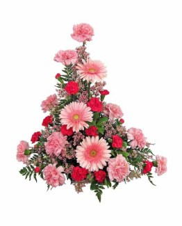 Red & Pink Mix Flowers Basket Arrangement (Gerberas & Carnation)