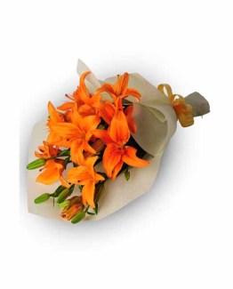 8 Orange Lilies Hand Bunch