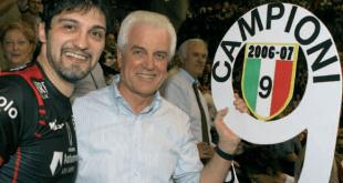 Gilberto Benetton e Samuele Papi festeggiano lo scudetto della Sisley