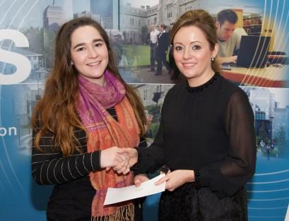 Ellen Benaim receiving her prize from Linda Ryan, Bank of Ireland