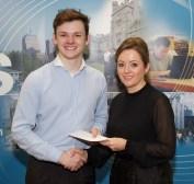 Troy Smith receiving his award from Linda Ryan, Bank of Ireland