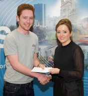 Ultan Hill receiving his award from Linda Ryan, Bank of Ireland
