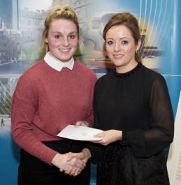Carol Cashman receiving her award from Linda Ryan, Bank of Ireland