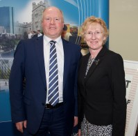 Michael Shanahan, Bank of Ireland and Patricia Lynch, BIS UCC at the launch of Business Information Systems' (BIS) Anthology 'Out of Self', showcasing the creative work of BIS students, in UCC on Thursday, March 10th.