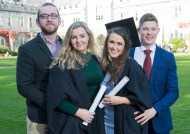 free pic no repro fee 18 oct 2016 Eoin Lane Bishopstown and Donagh Maher Neanagh with Olivia McCarthy Bishopstown and Libhin O'Carroll Nenagh who graduated with a degree in Business Information Systems (BIS) from UCC on Tuesday, October 18th. Photography by Gerard McCarthy 087 8537228 more info contact Alison O'Brien Fuzion Communications 021 4271234 086 3879388