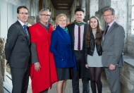 free pic no repro fee 18 oct 2016 David Merriman Bank of Ireland, Prof Ciaran Murphy Head of Cubs UCC and Patricia Lunch BIS UCC with Roisin, Denis and William Walsh Ballynoe who graduated with a degree in Business Information Systems (BIS) from UCC on Tuesday, October 18th. Photography by Gerard McCarthy 087 8537228 more info contact Alison O'Brien Fuzion Communications 021 4271234 086 3879388